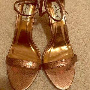 Beautiful bronze double strap sandals
